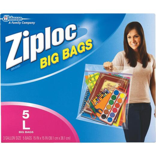 Ziploc Big Bag 3 Gallon Large Storage Bags, (5-Count)