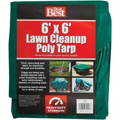 Do it Best  6 Ft. x 6 Ft. Poly Fabric Green Lawn Cleanup Tarp